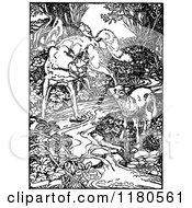 Clipart Of A Retro Vintage Black And White Fox And Lamb At A Stream Royalty Free Vector Illustration by Prawny Vintage