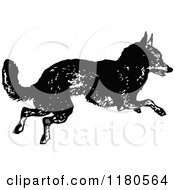 Clipart Of A Retro Vintage Black And White Fox Running Royalty Free Vector Illustration