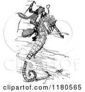 Clipart Of A Retro Vintage Black And White Frog Riding A Seahorse Royalty Free Vector Illustration by Prawny Vintage