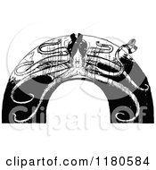 Clipart Of A Retro Vintage Black And White Octopus Arch Royalty Free Vector Illustration by Prawny Vintage