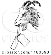 Clipart Of A Retro Vintage Black And White Goat With Tags Royalty Free Vector Illustration