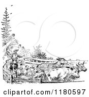 Clipart Of A Retro Vintage Black And White Farmer Rounding Up His Livestock With Copyspace Royalty Free Vector Illustration