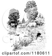 Clipart Of A Retro Vintage Black And White Pond Scene With People And Farm Animals Royalty Free Vector Illustration by Prawny Vintage