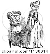 Clipart Of A Retro Vintage Black And White Mother And Baby In A High Chair Royalty Free Vector Illustration