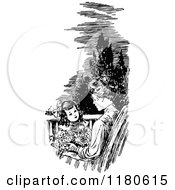 Clipart Of A Retro Vintage Black And White Mother And Daughter On A Patio Royalty Free Vector Illustration