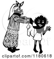 Clipart Of A Retro Vintage Black And White Mother Dressing Her Son Royalty Free Vector Illustration