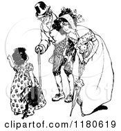 Clipart Of A Retro Vintage Black And White Girl Talking To A Friendly Lady And Old Man Royalty Free Vector Illustration