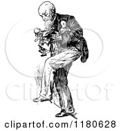 Retro Vintage Black And White Old Man Carrying Dolls
