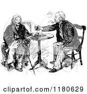 Clipart Of Retro Vintage Black And White Old Men Visiting Royalty Free Vector Illustration
