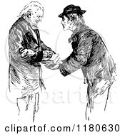 Clipart Of A Retro Vintage Black And White Old Man Signing Royalty Free Vector Illustration