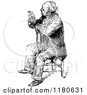 Clipart Of A Retro Vintage Black And White Old Man Sitting And Pointing Royalty Free Vector Illustration