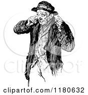 Clipart Of A Retro Vintage Black And White Old Man Royalty Free Vector Illustration