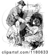 Clipart Of A Retro Vintage Black And White Girl And Grandfather With Soup Royalty Free Vector Illustration
