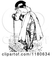 Clipart Of A Retro Vintage Black And White Old Man With A Cane Royalty Free Vector Illustration