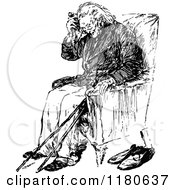 Clipart Of A Retro Vintage Black And White Old Man Sitting Royalty Free Vector Illustration