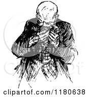 Clipart Of A Retro Vintage Black And White Old Man Blowing His Nose Royalty Free Vector Illustration