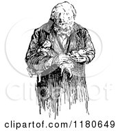 Clipart Of A Retro Vintage Black And White Old Man Carrying Dolls Royalty Free Vector Illustration by Prawny Vintage