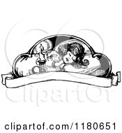 Clipart Of A Retro Vintage Black And White Sleeping Girl And Banner Royalty Free Vector Illustration by Prawny Vintage
