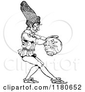 Clipart Of A Retro Vintage Black And White Dwarf Holding A Shell Royalty Free Vector Illustration
