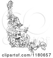 Clipart Of A Retro Vintage Black And White Gnome And Garden Flowers Corner Border Royalty Free Vector Illustration