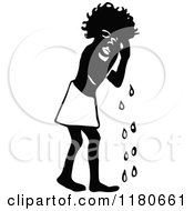Clipart Of A Retro Vintage Black And White Crying African Boy Royalty Free Vector Illustration