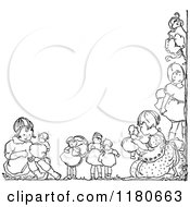 Retro Vintage Black And White Border Of Girls And Dolls