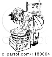 Clipart Of A Retro Vintage Black And White Girl Washing Laundry Royalty Free Vector Illustration by Prawny Vintage