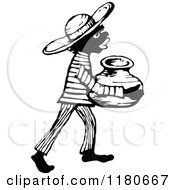 Clipart Of A Retro Vintage Black And White African Boy Carrying A Jug Royalty Free Vector Illustration by Prawny Vintage