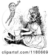 Clipart Of A Retro Vintage Black And White Girl And Jack In The Box Royalty Free Vector Illustration