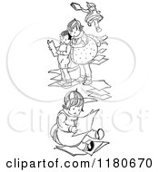 Clipart Of Retro Vintage Black And White Children With Paper Royalty Free Vector Illustration