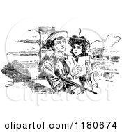 Clipart Of A Retro Vintage Black And White Boy And Girl Reading A Note Royalty Free Vector Illustration