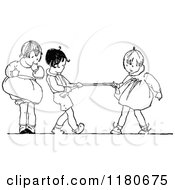 Clipart Of Retro Vintage Black And White Kids Playing Tug Of War Royalty Free Vector Illustration