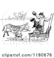 Clipart Of Retro Vintage Black And White Girls With A Donkey Sled Royalty Free Vector Illustration