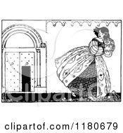 Clipart Of A Retro Vintage Black And White Girl Fleeing Royalty Free Vector Illustration