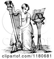 Clipart Of A Retro Vintage Black And White Girl Playing A Harp Royalty Free Vector Illustration