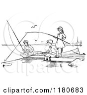 Retro Vintage Black And White Children Fishing