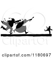 Clipart Of A Silhouetted Couple Chasing A Boy Royalty Free Vector Illustration