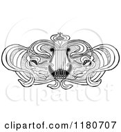 Clipart Of A Retro Vintage Black And White Floral Lyre Design Element Royalty Free Vector Illustration