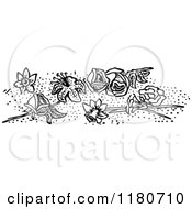Clipart Of A Retro Vintage Black And White Border Of Flowers Royalty Free Vector Illustration
