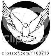 Clipart Of A Retro Vintage Black And White Letter O And Dove Royalty Free Vector Illustration