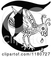 Clipart Of A Retro Vintage Black And White Letter C And Crying Bird Royalty Free Vector Illustration