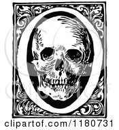 Clipart Of A Retro Vintage Black And White Letter O And Skull Royalty Free Vector Illustration
