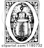 Clipart Of A Retro Vintage Black And White Letter O And Hearth Pot Royalty Free Vector Illustration