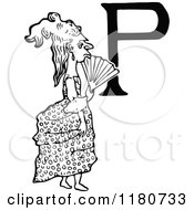Clipart Of A Retro Vintage Black And White Letter P And Lady Royalty Free Vector Illustration