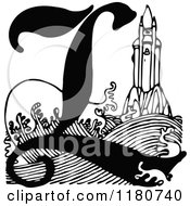 Clipart Of A Retro Vintage Black And White Letter L And Lighthouse Royalty Free Vector Illustration by Prawny Vintage