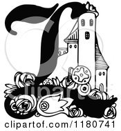 Clipart Of A Retro Vintage Black And White Letter L And Castle Royalty Free Vector Illustration