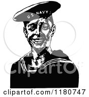 Clipart Of A Retro Vintage Black And White Navy Sailor Royalty Free Vector Illustration by Prawny Vintage