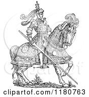 Clipart Of A Retro Vintage Black And White Horseback Knight With A Lance Royalty Free Vector Illustration by Prawny Vintage