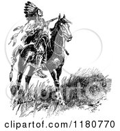 Clipart Of A Retro Vintage Black And White Native American Chief On Horseback Royalty Free Vector Illustration