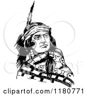 Clipart Of A Retro Vintage Black And White Native American Man Royalty Free Vector Illustration